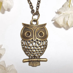 Bronze Owl Necklace Adjustable Length Rustic 4904
